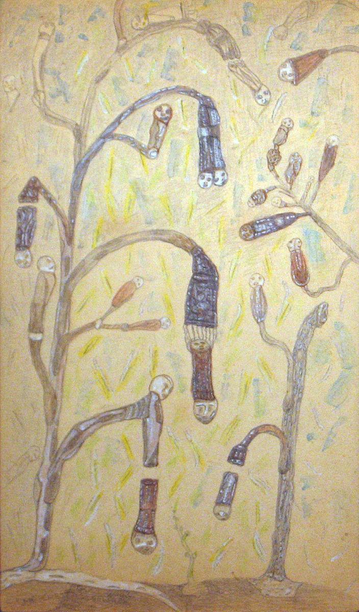 Megérett lelkecskék - p. karton, ceruza, akv. 46x27 cm (2012)