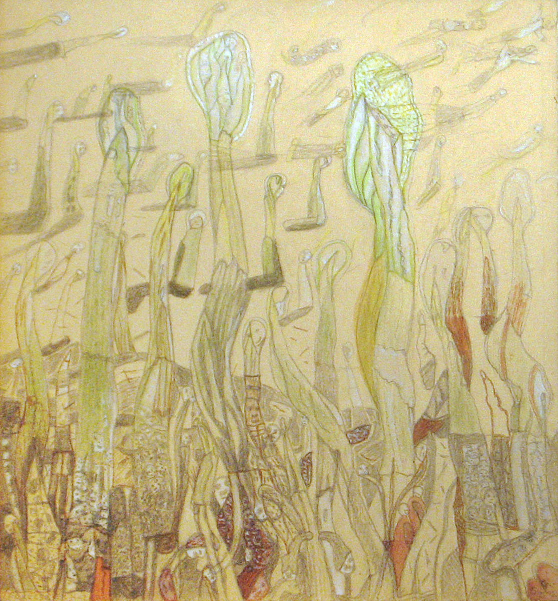 Lelkecskék hazafelé - p. karton, ceruza, temp. 37,5x34 cm (2012)