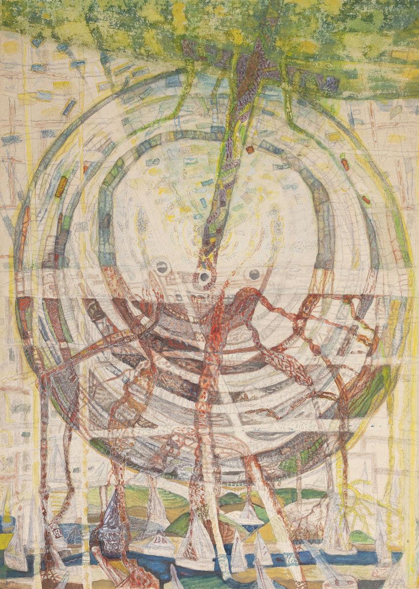 Időkerék Ádám koponyájával és kereszttel - p. karton, cer. temp. 70x50 cm (2016)